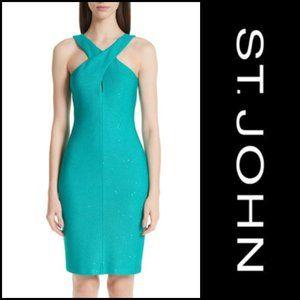 ST. JOHN Blake Sequin Knit Dress Lagoon NWT